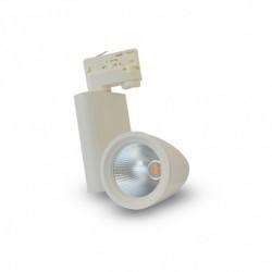 Spot LED sur Rail avec Adaptateur 3 allumages Blanc 30W 3000°K