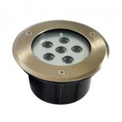 Spot LED Encastre Sol Rond Inox 6W